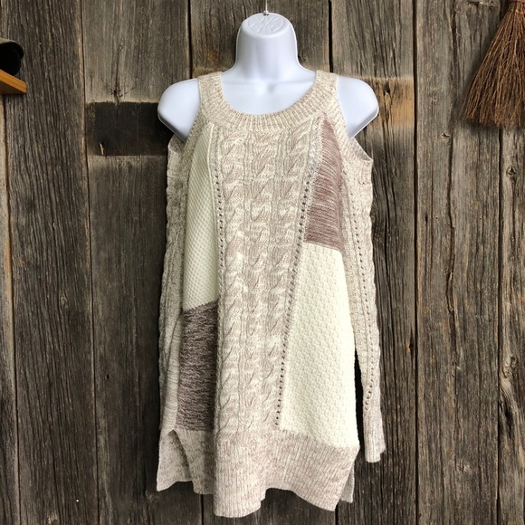 Knox Rose Sweaters - White and Brown Colorblock Knit Sweater